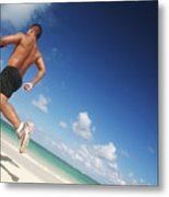 Male Beach Runner Metal Print by Brandon Tabiolo - Printscapes