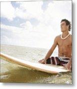 Male Surfer Metal Print by Brandon Tabiolo - Printscapes