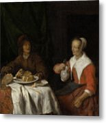 Man And Woman At A Meal Metal Print