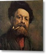 Man With A Pipe Metal Print
