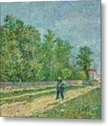Man With Spade In A Suburb O Metal Print