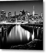 Manhattan Skyline At Night Metal Print