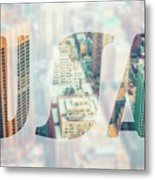 Manhattan Skyline At Sunset, New York City  Metal Print