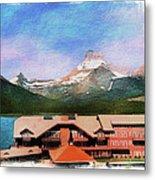 Many Glacier Hotel Panorama Metal Print