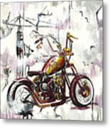 Mapped Motorcycle Metal Print