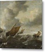 Maritime Scene With Stormy Seas Metal Print