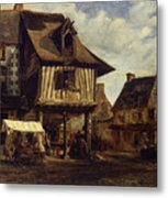 Market-place In Normandy Metal Print
