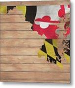 Maryland Rustic Map On Wood Metal Print