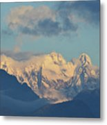 Massive Snow Caped Mountains In The Countryside Of Italy  Metal Print