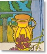 Mccoy Vase With Cosmos Metal Print