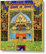 Meditating Master In Courtyard With Ducks Metal Print