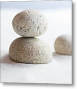 Meditation Stones On White Sand Metal Print