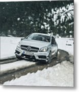 Mercedes Benz A45 Amg Snow Metal Print