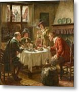 Merry Company In A Dutch Interior Metal Print