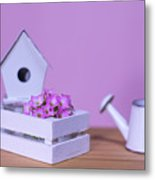 Miniature Gardening Kit With Pink Background Metal Print