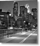 Minneapolis Skyline From Stone Arch Bridge Metal Print