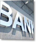 Modern Bank Building Signage Metal Print