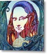 Mona Lisa. Fire Metal Print