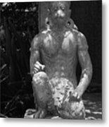 Monkey In Black And White Metal Print