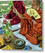 Monks Blessing Buddhist Wedding Ceremony In Cambodia Metal Print