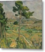 Mont Sainte-victoire And The Viaduct Of The Arc River Valley Metal Print