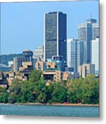 Montreal City Skyline Over River Panorama Metal Print
