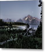 Moonset On Jackson Lake Metal Print