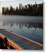 Morning Mist Over Lynx Lake In Northern Saskatchewan Metal Print