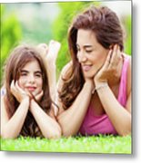 Mother With Daughter Outdoors Metal Print