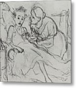 Mother With Sick Child 1878 Fig 29 9h22 6 Tg Vasily Perov Metal Print