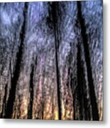 Motion Blurred Trees In A Forest Metal Print