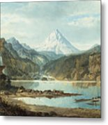 Mountain Landscape With Indians Metal Print