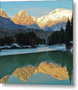 Mountain Reflections On Lago Di Barcis Metal Print