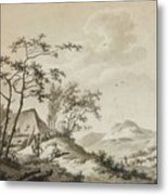 Mountainous Landscape With Three Ramblers Metal Print