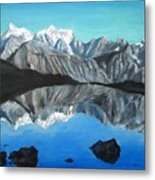 Mountains Landscape Acrylic Painting Metal Print