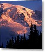 Mt. Rainier Dawn And Clouds Metal Print