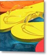 Multicolored Flip Flops Floating In Pool Metal Print
