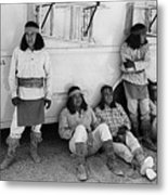 Native American Extras Dressed As Apache Warriors The High Chaparral Set Old Tucson Arizona 1969 Metal Print