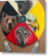 Native American Medicine Wheel Metal Print by Amatzia Baruchi