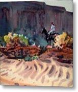 Navajo Rider Metal Print