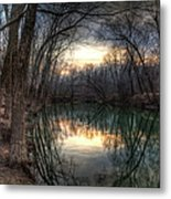 Neath The Willows By The Stream Metal Print