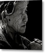 Nepali Elder At Bodhnath Stupa Metal Print