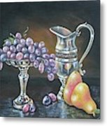 Fruit N Silver Metal Print