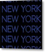 New York - Blue On Black Background Metal Print