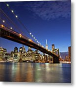 New York City Skyline By Night Metal Print