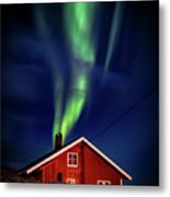 Northern Lights Chimney Metal Print