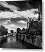 Notre Dame Cathedral And The River Seine - Paris Metal Print