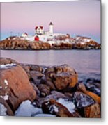 Nubble Winter Dusk Metal Print