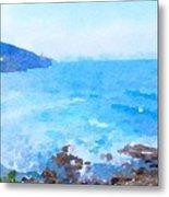 Ocean Coastline Watercolor Metal Print