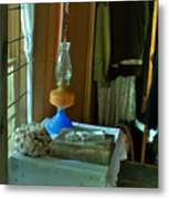 Oil Lamp And Bible Metal Print